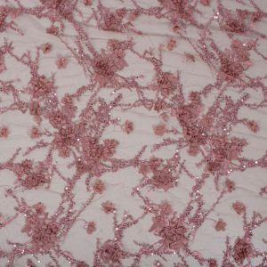 Tecido Renda Bordada com Pedrarias 3D Cor Rosa Blush