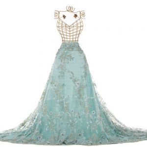 Tecido Renda Bordada com Pedrarias Azul Tiffany Claro