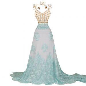 Tecido Renda Bordada Fios Acetinados Azul Tiffany