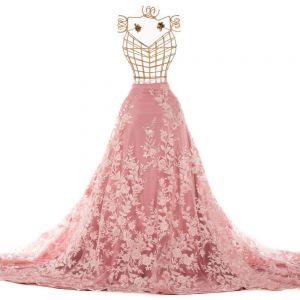 Tecido Renda Bordada Fios Acetinados Floral 3D Cor de Rosa