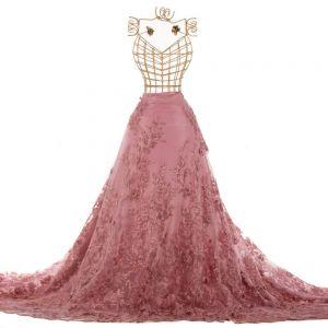 Tecido Renda Bordada Fios Acetinados Floral 3D Rosé Antigo