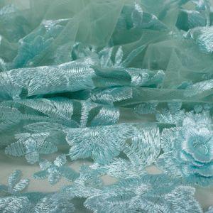 Tecido Renda Bordada Fios Acetinados Floral 3D Tiffany