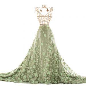 Tecido Renda Bordada Fios Acetinados Floral 3D Verde Erva Doce
