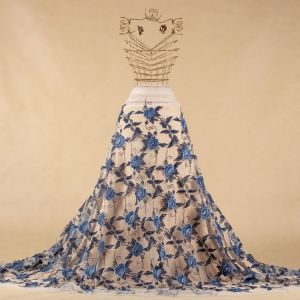 Tecido Renda Bordada Fios Acetinados Floral Colorida Azul