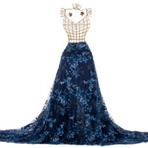 Tecido Renda Bordada Fios Acetinados Floral Colorida Azul Marinho