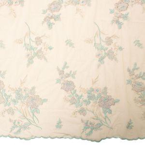 Tecido Renda Bordada Fios Acetinados Floral Tiffany