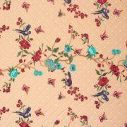 Tecido Renda Bordada Fios Acetinados Floral Vermelho e Azul