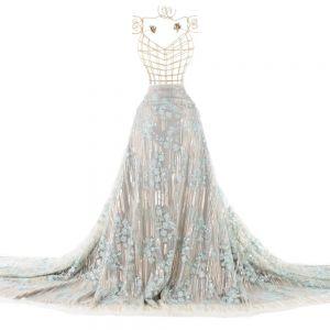 Tecido Renda Bordada Retalho 85 CM Azul Tiffany
