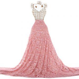 Tecido Renda Chantilly Rosa Quartzo