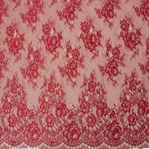 Tecido Renda Chantilly Vermelho Queimado