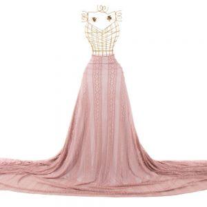 Tecido Renda de Malha Rosa Blush Rosado