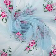 Tecido Renda Fios Acetinados Azul Bebê Floral Pink