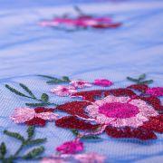 Tecido Renda Fios Acetinados Azul Royal Claro Floral
