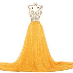 Tecido Renda Fios Acetinados Borboleta Amarelo