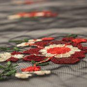 Tecido Renda Fios Acetinados Preto Floral