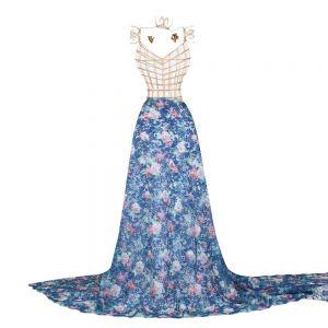 Tecido Renda Floral Azul