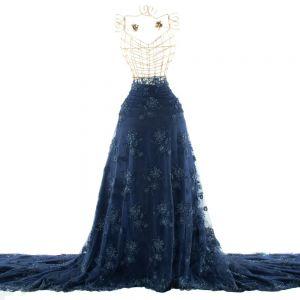Tecido Renda Floral Bordada Azul Marinho