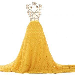 Tecido Renda Guipear Crochê Mandala Amarelo