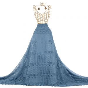 Tecido Renda Guipear Floral Étnica Azul Serenity