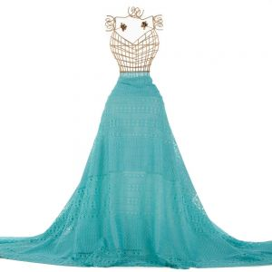 Tecido Renda Guipear Floral Étnica Azul Tiffany Intenso