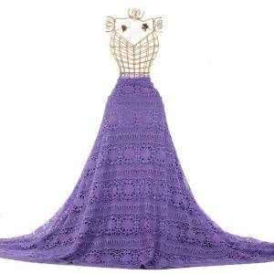 Tecido Renda Guipear Floral Étnica Violeta Claro