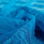 Tecido Renda Sutache Azul Aquário