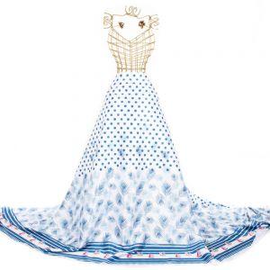 Tecido Sarja Estampa Doncella Barrado Barquinhos Azul e Branco