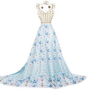 Tecido Sarja Estampa Doncella Barrado Borboletas Azul Tiffany