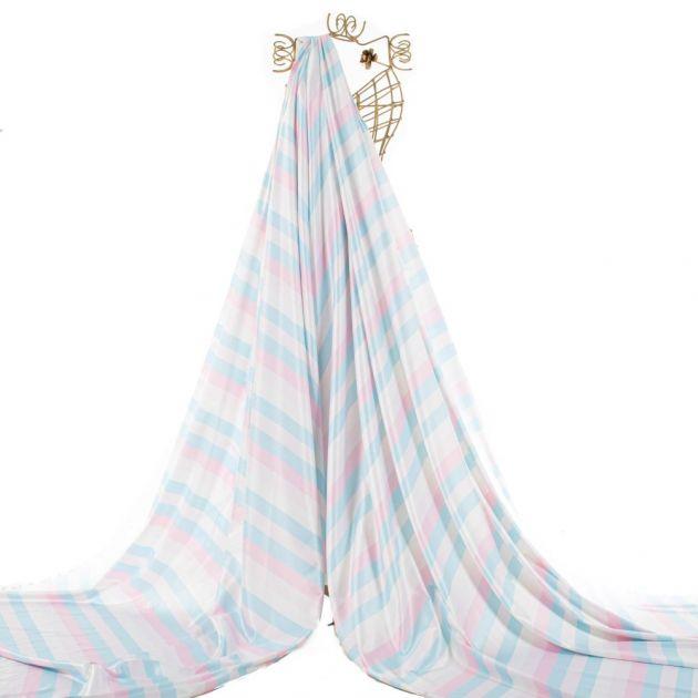 Tecido Sarja Estampa Doncella Listrada Rosa e Azul