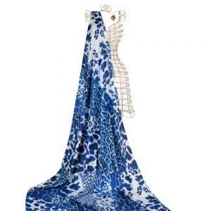 Tecido Seda Sintética Cavalli Estampada Azul