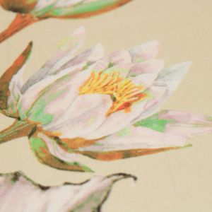 Tecido Seda Sintética Estampa Floral Bege