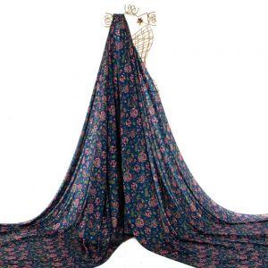 Tecido Toque de Seda Estampa Floral Azul Marinho