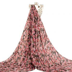 Tecido Toque de Seda Estampa Floral Preta