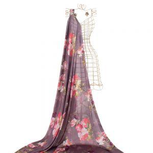 Tecido Toque de Seda Estampa Floral Rosa Blush