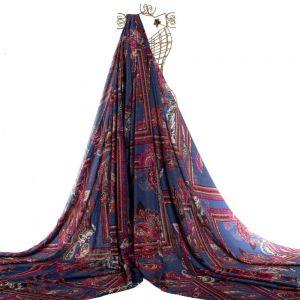 Tecido Toque de Seda Estampa Paisley Azul Royal