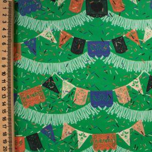 Tecido Tricoline Acetinada Estampa Bandeirolas Verde