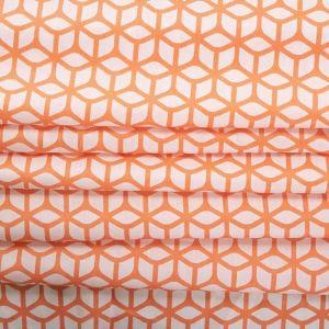 Tecido Tricoline Acetinada Estampa Geométrica Coral