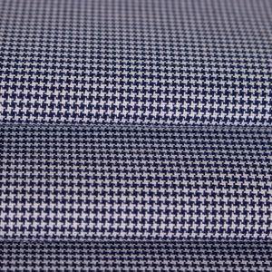 Tecido Tricoline Algodão Egípcio Fio 60 Estampa Pied Poule Azul Marinho