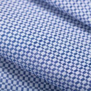 Tecido Tricoline Algodão Egípcio Quadriculado Azul Fio 60