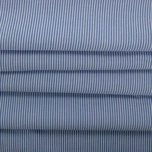 Tecido Tricoline de Algodão Micro Listrada Azul