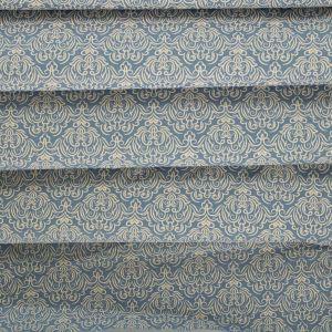 Tecido Tricoline Estampa Arabesco Azul Denim