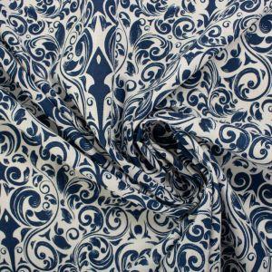 Tecido Tricoline Estampa Arabesco Branco e Azul