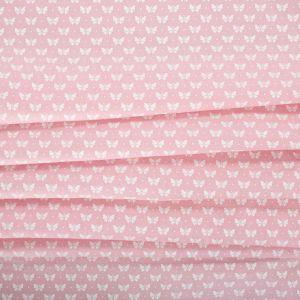 Tecido Tricoline Estampa Borboleta Cor de Rosa