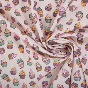 Tecido Tricoline Estampa Cupcakes Rosé Nude