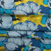 Tecido Tricoline Estampa Floral Amarela