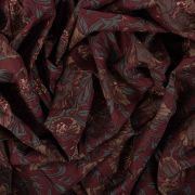 Tecido Tricoline Estampa Floral Marsala