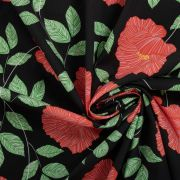 Tecido Tricoline Estampa Floral Preta