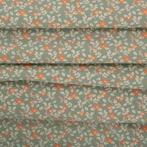 Tecido Tricoline Estampa Floral Verde