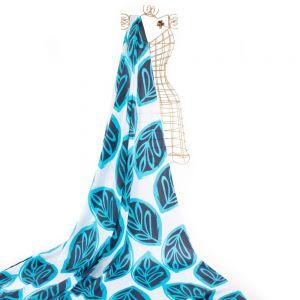 Tecido Tricoline Estampa Tropical Folhagens Azul Marinho