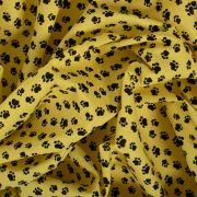 Tecido Tricoline Estampado Patinhas Amarela